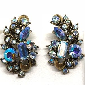 🆕Vintage Hollycraft Blue Rhinestone Earrings